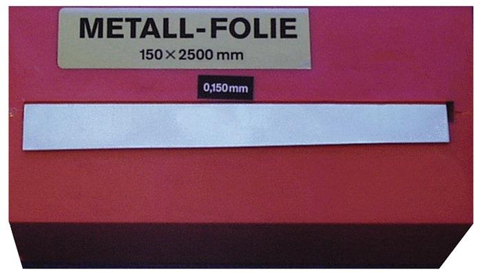 Metaalfolie dikte 0,025 mm staal l.2500mm b.150mm