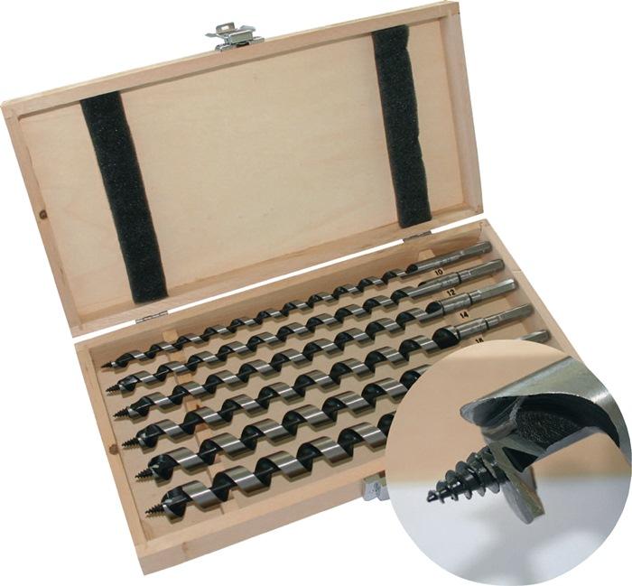 Set slangenboren 6-delig 10-20mm tot.l. 460mm in houten cassette PROMAT