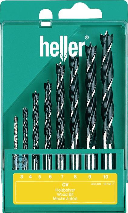 Set houtspiraalboren v. houtbewerking 3,4,5,6,7,8,9,10mm 8-delig HELLER