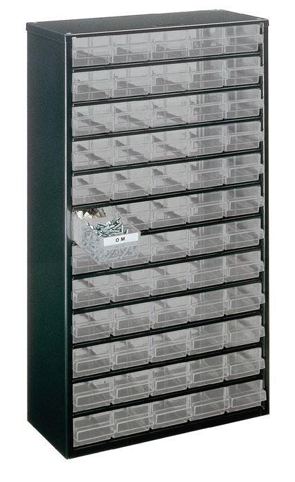 Opbergstellage klein mat. b306xd150xh552mm 60 laden type D staalplaat/lade PP