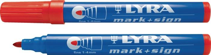 Permanentmarker rood lijnbreedte 1-4mm watervast LYRA