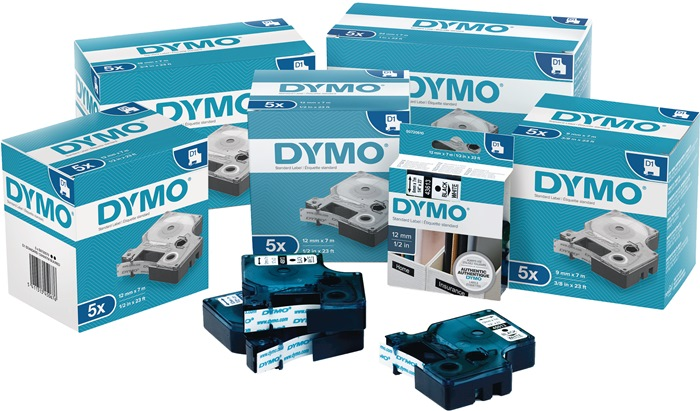 Labeltape DYMO LabelManager B.19mm/L.7m blauw op wit DYMO
