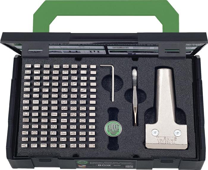 Slagcijfers/lettersset 115-d.letterh.2,5mm houder 12 in kunstst.koffer TURNUS