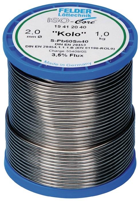 Soldeerdraad Kolo 2,0mm S-Sn60Pb40 250g vloeimiddel 3,5% FELDER