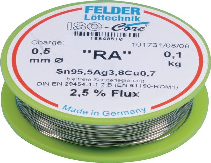 Soldeerdraad RA 1,0mm Sn95,5Ag3,8Cu0,7 100g loodvrij FELDER