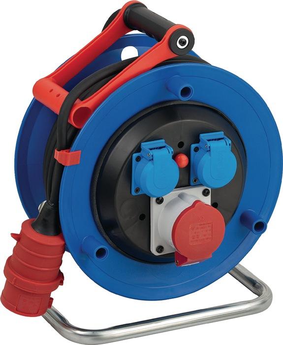 Draaistroomhaspel L30 m H07RN-F 3x1,5mm2 2 stekkerdozen m.therm. beveil. v.ku.