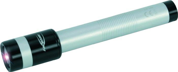 Zaklmp 0,5W LED 12lm zilver/zwart L.15cm lichtafst.40m lichtduur 20h v.2xAA batt