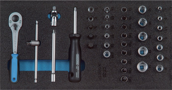 Gereedschapsmodule B.157,5xD.310mm 37-dlg. 1/4inch steeksleutelset GEDORE