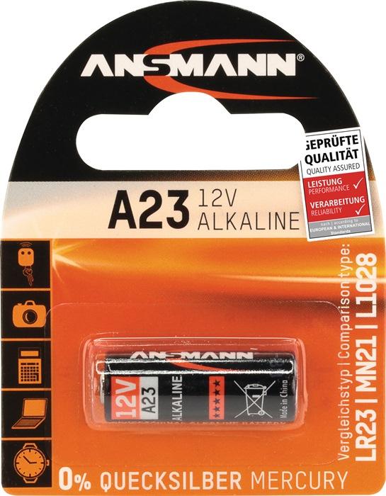Batterij 12V alkaline L.28mm d.10mm A23 1st./blister ANSMANN