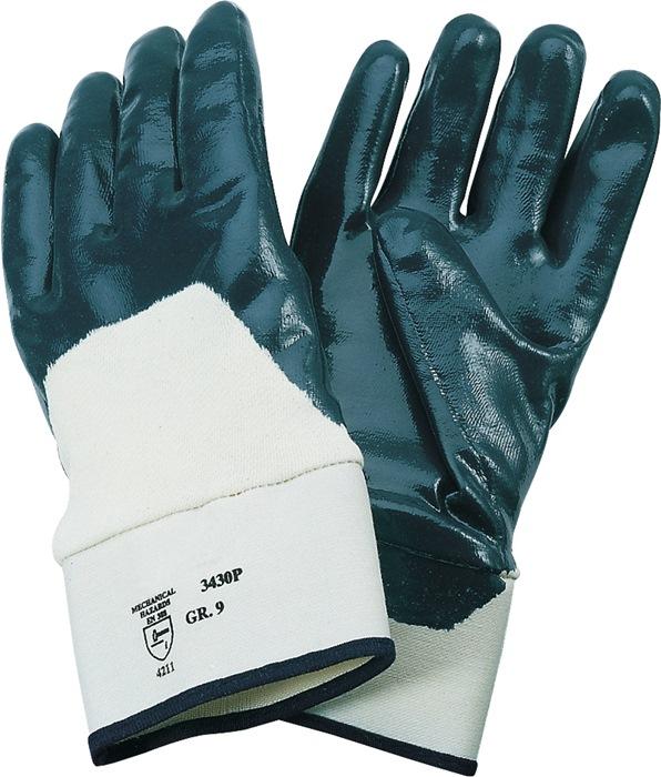 Nitril handschoen EN388/420 cat.II Neckar mt.9 blauw deels gecoat met manchet
