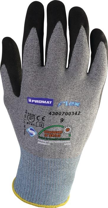 Fijngebr.handschoen FlexN mt8 op SB-kaart gebr.nylon m.nitrilc. zwart z.noppen