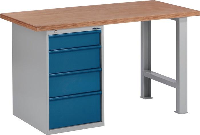 Werkbank BT 495 Promat b1500xd700xh840mm grijs/blauw lade1x125 2x175 1x225mm