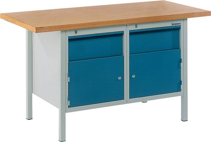 Werkbank BT 495 Promat b1500xd700xh840mm grijs/blauw laden 2x150 deur 2x350mm