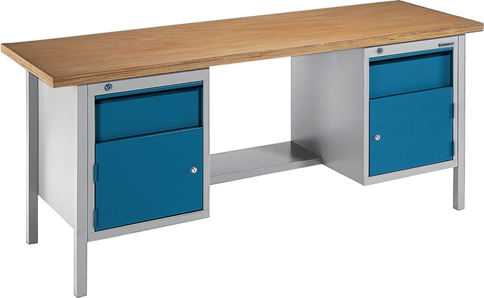 Werkbank BT495 Promat b2000xd700xh840mm grijs/blauw lade 2x150 deur 2x350 1plank