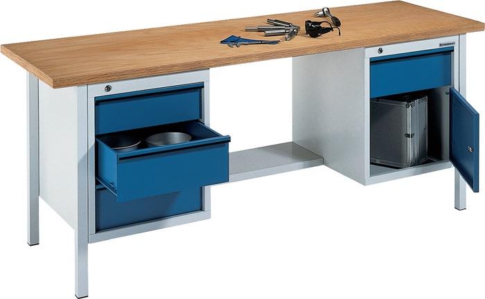 Werkbank BT495 Promat b2000xd700xh840mm grijs/blauw lade2x150 2x175 1deur 1plank
