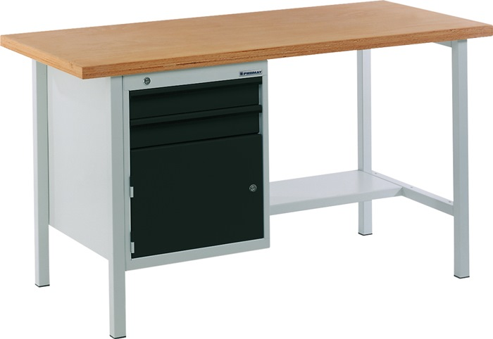 Werkbank BT 495 Promat b1500xd700xh840mm grijs/antr. lade2x75 deur1x350mm 1plank