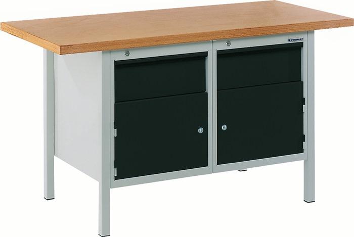 Werkbank BT 495 Promat b1500xd700xh840mm grijs/antrac. laden 2x150 deur 2x350mm