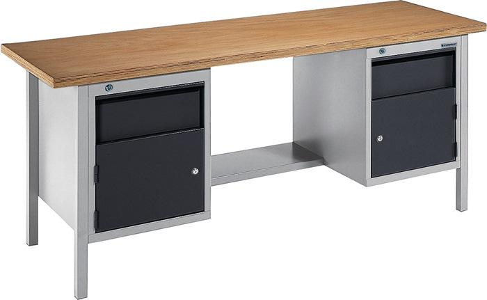 Werkbank BT495 Promat b2000xd700xh840mm grijs/antr. lade 2x150 deur 2x350 1plank