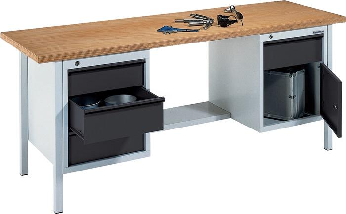 Werkbank BT495 Promat b2000xd700xh840mm grijs/antr. lade2x150 2x175 1deur 1plank