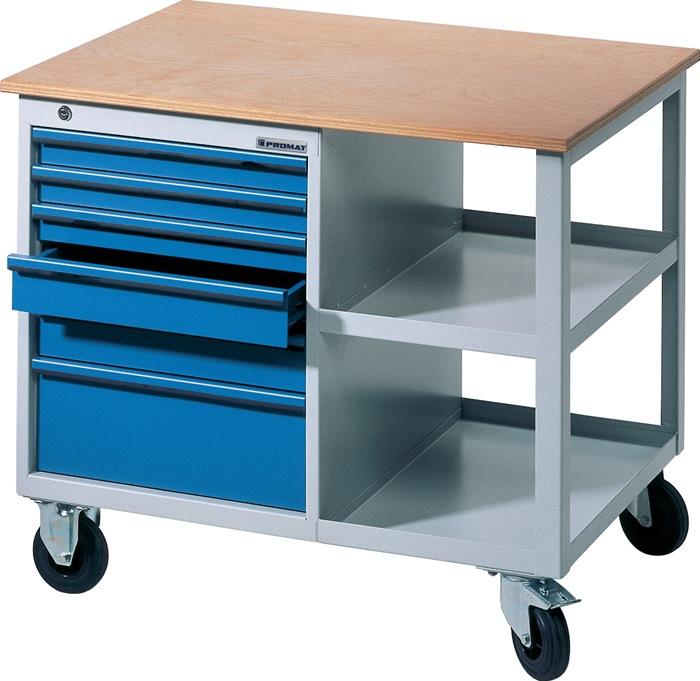 Werkbank BT495Promat verrijdb.b885xd605xh805 grijs/blauw 2x50 1x75 2x100 1x175mm