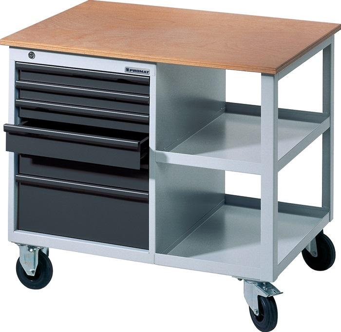 Werkbank BT495Promat verrijdb.b885xd605xh805 grijs/antr. 2x50 1x75 2x100 1x175mm
