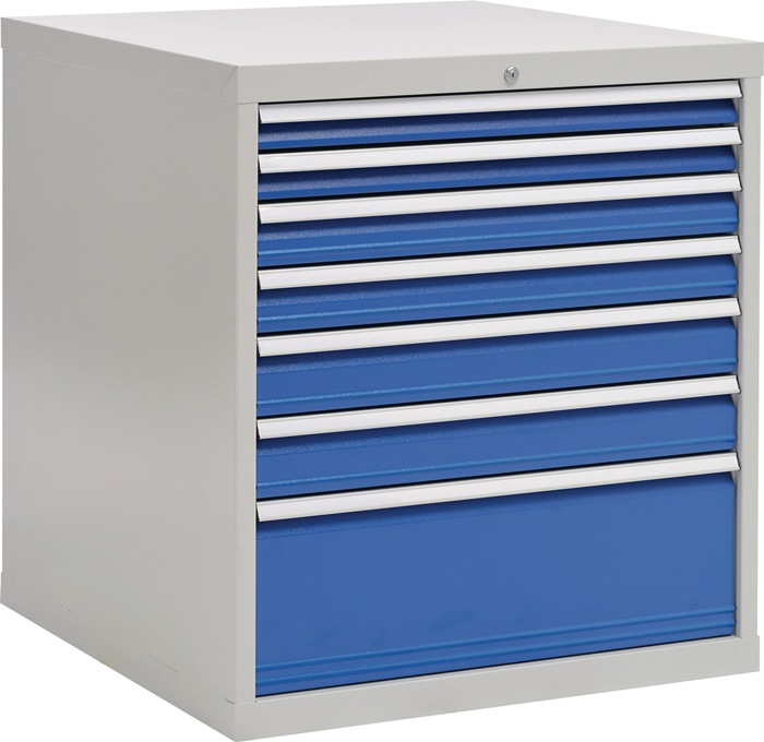 Schuifladekast H1019xB1005xT736 grijs/blauw 2x75 2x100 2x125 1x300