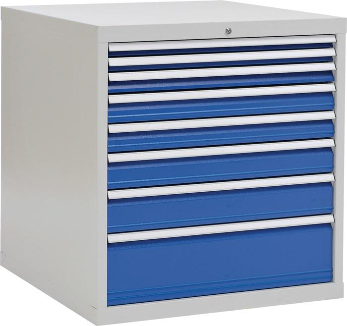 Schuifladekast H1019xB1005xT736 grijs/blauw 2x50 1x75 2x100 1x125 1x150 1x250