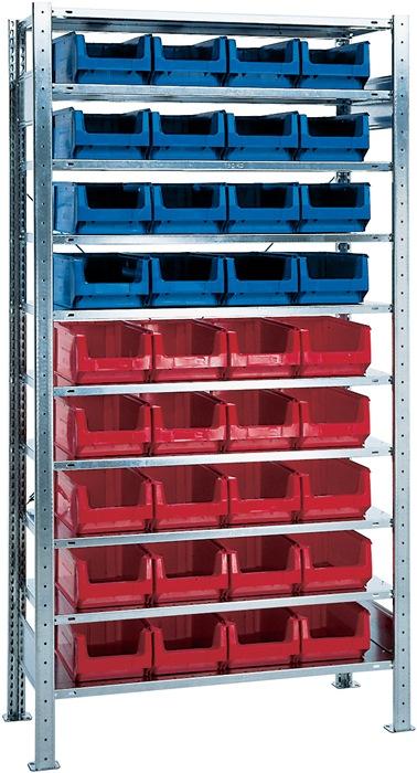 Stel.kst H2000xB1000xD400mm 10bod. bas. verz. mag.bk. 16xMK3z blauw 20xMK3z rood