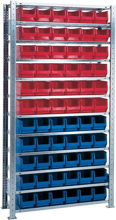 Stel.kast H2000xB1000xD300mm 12bod. basis verz. mag.bk.30xMK4 blauw, 36xMK4 rood