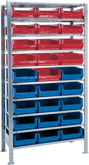 Stel.kst H2000xB1000xD500mm 10bod. bas verz. mag.bk. 14xMK2z blauw 13xMK2z rood