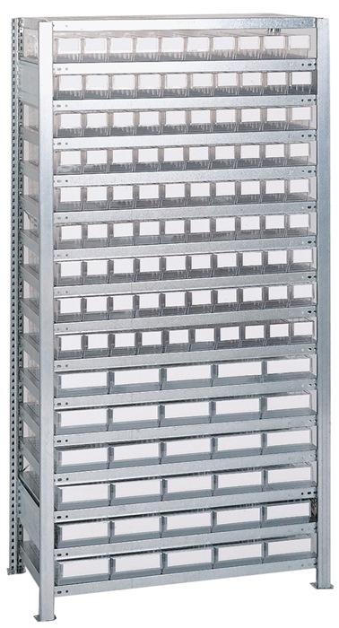 Stl.k. H2000xB1000xD400mm 16bod. bas. verz. mag.box. 90x mt.3, 30x mt.4, trans.