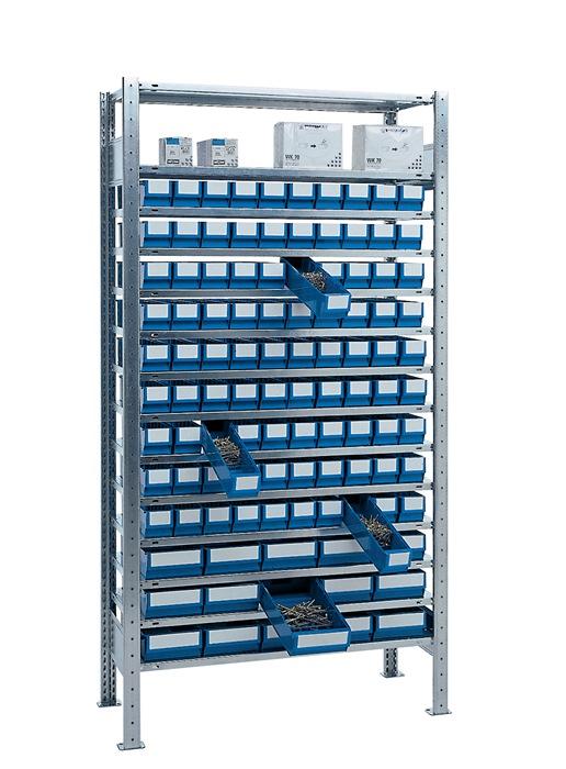Stel.kast H2000xB1000xD400mm 14bod. bas. verz. mag.box. 90xmt.3, 15xmt.4, blauw