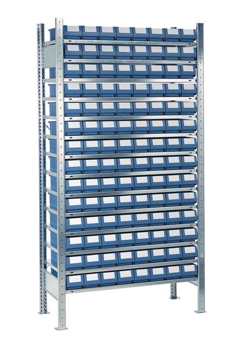 Stellingkast H2000xB1000xD500 mm 14 bod. verz. uitbr. 112 bakken mt. 7, blauw