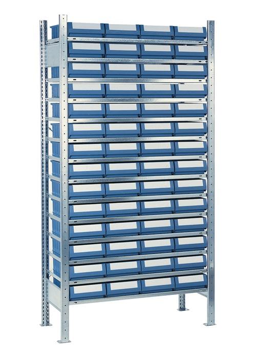 Stellingkast H2000xB1000xD400mm 14 bodem verz. uitbr. 56 bakken mt. 5, blauw