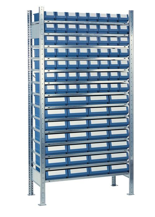 Stel.kast H2000xB1000xD500mm 14 bod. verz. uitb. 56 bakken mt. 7, 28xmt.8 blauw