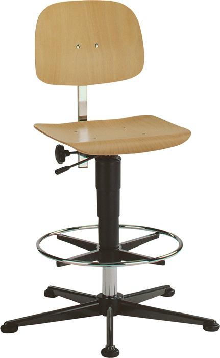 Werkdraaistoel Fit m.glij./voetring beuken zith. 590-910mm cont.rugl. BIMOS
