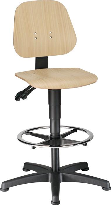 Werkdraaistoel Unitec m.glij./opstaphulp beukenhout zith. 580-850mm cont.rugl.