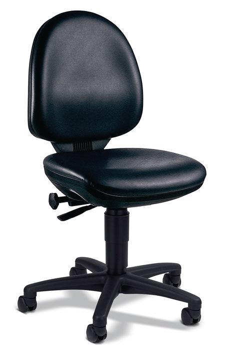 Werkdraaistoel m.wielen kunstleer zithoogte 420-550mm contactrugleuning TOPSTAR