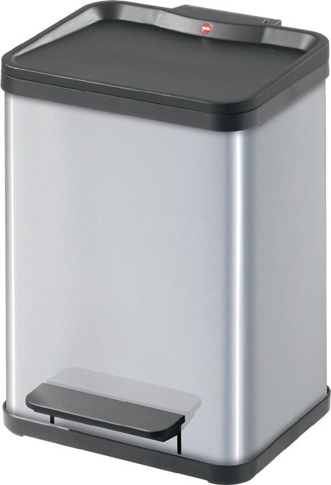 Pedaalemmer Staalplaat, zilver 2x11l, met kunststof binnenemmer