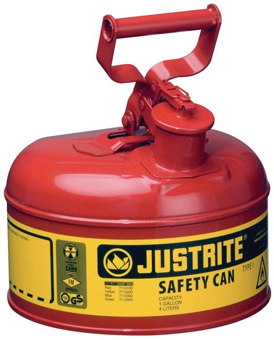 Veiligheidsreservoir v. brandbare vloeistoffen 9,5l staalp. rood m.vlamafsluiter
