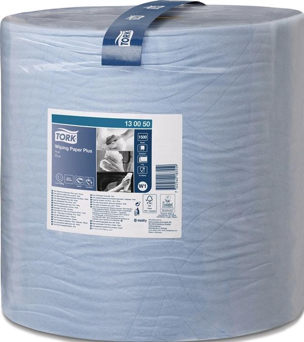 Poetsdoek Tork sterk univer. doek blauw 2laags l340xb370mm 1500afscheur 1RL/VE