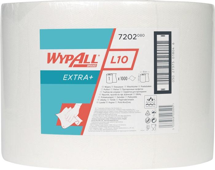 Poetsdoek Wypall L20-7202 wit 1-laags l380xb240mm 1000afscheur