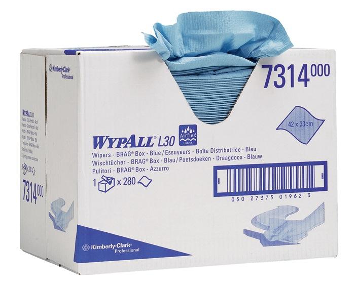 Ptsdk WYPALL L 30-7314 L.420xB.330mm 2-lg geperf. blauw 280 vel gebun. in doos