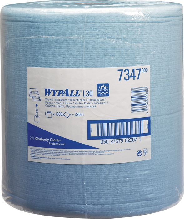 Poetsdoek Wypall L30-7347 blauw 2-laags l380xb330mm geperforeerd 1000afscheur