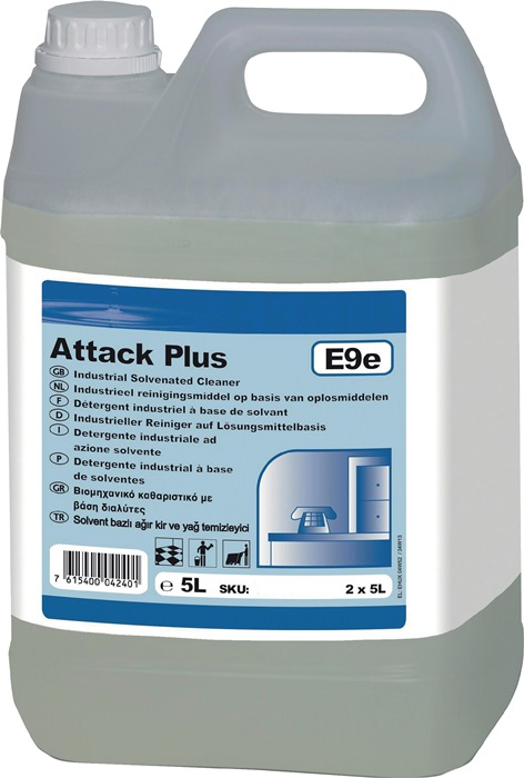 Ind. reiniger TASKI Attack Plus E9e 5l op oplossingsmiddelbasis vloeist.vat