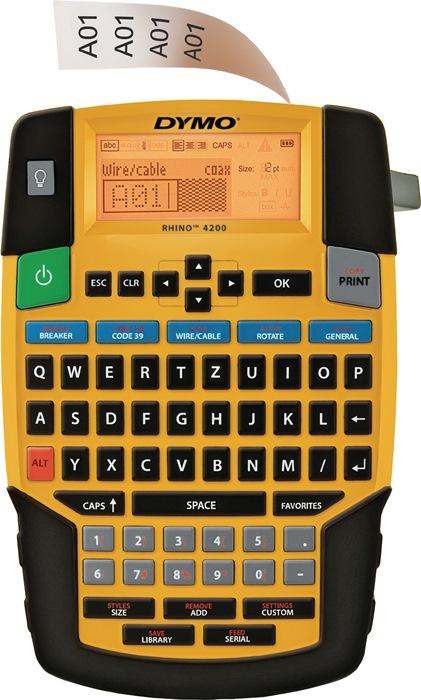 Labelp. DYMO Rhino4200 let.br. 6,9,12,19mm mob. app. 1 labelt. B.12mm zw. op wit