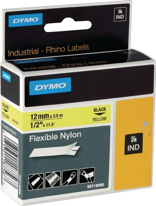 Labeltape DYMO Rhino B.12mm/L.3,5m flexibel nylon zwart op wit DYMO