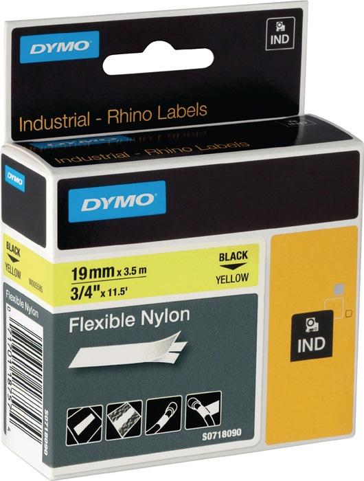 Labeltape DYMO Rhino B.19mm/L.3,5m flexibel nylon zwart op geel DYMO