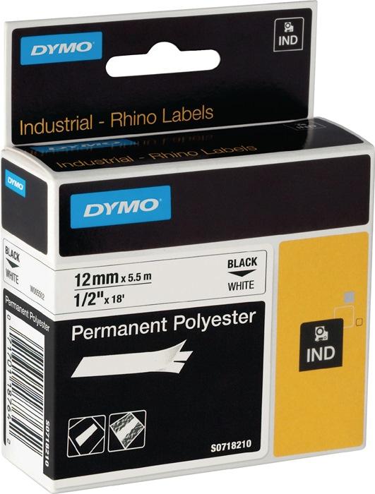 Labeltape DYMO Rhino B.12mm/L.5,5m permanent polyesterband zwart op wit DYMO