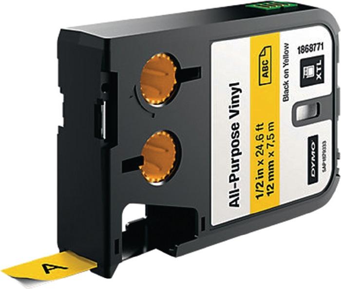 Labeltape voor DYMO XTL vinyl 12mm x 7m zwart op geel permanent hechtend